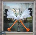 3D Ooievaar op raam