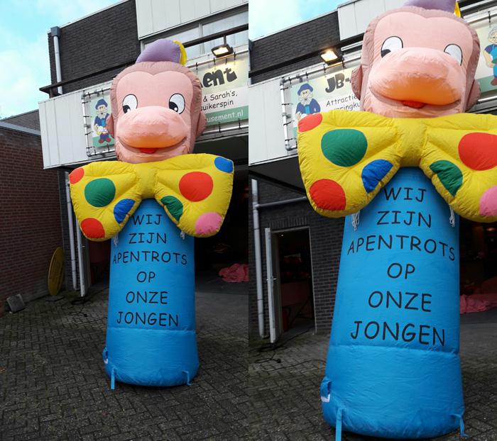 Opblaasbaar geboorte figuur Apentrots op onze jongen huren Tilburg