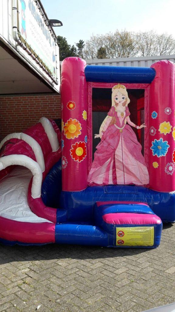 Mini prinses springkussen met glijbaan huren Tilburg